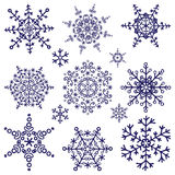 Sylwetka płatki śniegu ustawiający Zim doodles wektor Zdjęcie Royalty Free