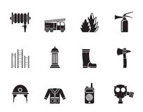 Sylwetka palacza i jednostki straży pożarnej wyposażenia ikona ilustracja wektor