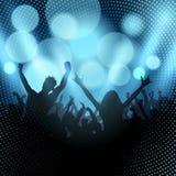 Sylwetka partyjny tłum na bokeh zaświeca tło ilustracji