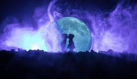 Sylwetka pary całowanie pod księżyc w pełni Faceta buziaka dziewczyny ręka na księżyc w pełni sylwetki tle Walentynki ` s dnia wy Obraz Stock