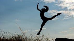 Sylwetka pełen wdzięku gimnastyczka Fotografia Stock