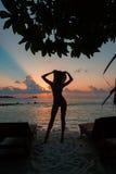 Sylwetka piękna nikła dziewczyna na zmierzchu tle i słońc loungers na oceanu brzeg Kobieta zegarka linia horyzontu Obraz Stock