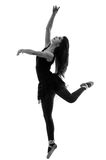 Sylwetka piękny żeński baletniczy tancerz Zdjęcie Royalty Free