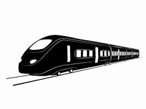 Sylwetka pociąg rysuje tła trawy kwiecistego wektora Obrazy Royalty Free