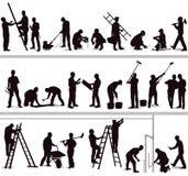 Sylwetka pracownicy budowlani ilustracji
