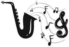 Sylwetka projekt dla saksofonu i notatek ilustracja wektor
