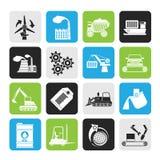 Sylwetka przemysłu i biznesu różne ikony jakby royalty ilustracja