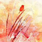 Sylwetka ptak i rośliny Zdjęcie Stock