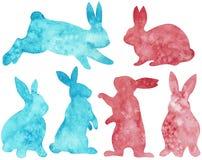 Sylwetka różowi i błękitni króliki Wielkanocny Clipart beak dekoracyjnego latającego ilustracyjnego wizerunek swój papierowa kawa ilustracja wektor