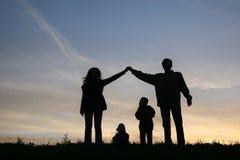 sylwetka rodzinę do domu Obraz Royalty Free