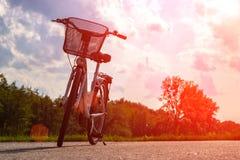Sylwetka rower w lesie przy zmierzchem Bicykl i ekologii poj?cie fotografia royalty free