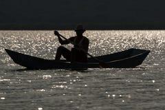 Sylwetka rybak w Afryka Fotografia Stock