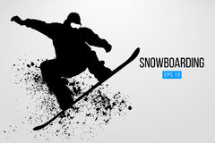 Sylwetka snowboarder doskakiwanie odizolowywający również zwrócić corel ilustracji wektora Obrazy Stock