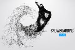 Sylwetka snowboarder doskakiwanie odizolowywający również zwrócić corel ilustracji wektora Obraz Royalty Free