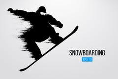 Sylwetka snowboarder doskakiwanie odizolowywający również zwrócić corel ilustracji wektora Zdjęcie Royalty Free