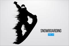 Sylwetka snowboarder doskakiwanie odizolowywający również zwrócić corel ilustracji wektora Fotografia Royalty Free