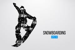 Sylwetka snowboarder doskakiwanie odizolowywający również zwrócić corel ilustracji wektora Obrazy Royalty Free