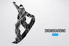 Sylwetka snowboarder doskakiwanie odizolowywający również zwrócić corel ilustracji wektora Zdjęcia Stock