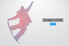 Sylwetka snowboarder doskakiwanie odizolowywający również zwrócić corel ilustracji wektora Obraz Stock