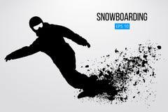 Sylwetka snowboarder odizolowywający również zwrócić corel ilustracji wektora Obrazy Royalty Free