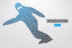 Sylwetka snowboarder odizolowywający również zwrócić corel ilustracji wektora Zdjęcia Stock