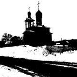 Sylwetka stary kościół również zwrócić corel ilustracji wektora ilustracja wektor