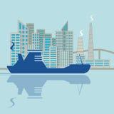 Sylwetka statek na miasta tle ilustracja wektor