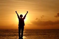sylwetka sunrise kobieta Obraz Stock