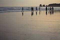 Sylwetka surfingowów grzejny up iść pływać w ranku wschodzie słońca Obraz Stock