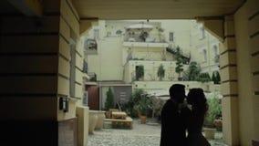 Sylwetka szczęśliwa para trzyma each inny Mężczyzna i kobiety pozycja w rękach Wolny moton zbiory wideo