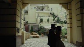 Sylwetka szczęśliwa para trzyma each inny Mężczyzna i kobiety pozycja w rękach Wolny moton zdjęcie wideo