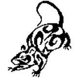 Sylwetka szczur mysz z kędziorami malującymi czerń obciosuje, piksle obrazy royalty free
