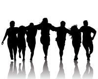 Sylwetka taniec grupa Fotografia Stock