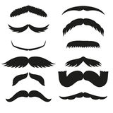 Sylwetka wąsy wektorowego czarnego białego włosianego modnisia brody dżentelmenu i fryzjera męskiego kędzierzawy inkasowy symbol  Zdjęcie Royalty Free