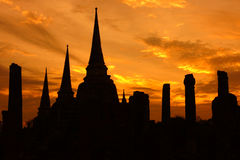 Sylwetka Wat Phra Sri Sanphet, Ayutthaya Zdjęcie Stock