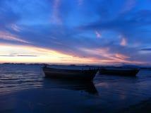 Sylwetka widok łódź Zdjęcie Royalty Free