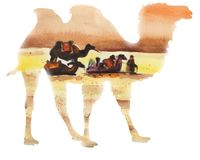 Sylwetka wielbłąd na tle deser ilustracji
