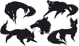 Sylwetka wilk w różnych wersjach Zdjęcia Royalty Free