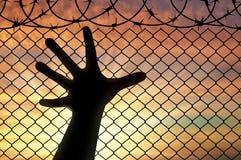 Sylwetka wręcza uchodźcy blisko ogrodzenia drut kolczasty Zdjęcia Royalty Free
