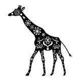 Sylwetka żyrafa z antycznymi tradycyjnymi wzorami i lub Zdjęcia Stock