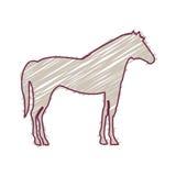 Sylwetka z końskim zwierze domowy barwiącym Zdjęcia Royalty Free