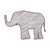 Sylwetka z słonia dzikim zwierzęciem barwiącym Zdjęcie Stock