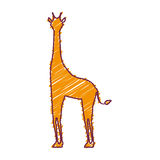 Sylwetka z żyrafy dzikim zwierzęciem barwiącym Obrazy Stock