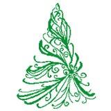 Sylwetka zielona świerczyna z curlicues na białym tle malował kwadratami, piksle witamy w karty nowego roku ilustracji