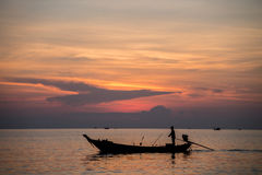 Sylwetki łódź Zdjęcie Stock