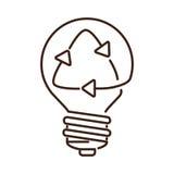 sylwetki żarówki płaska ikona z recyled znakiem Fotografia Stock