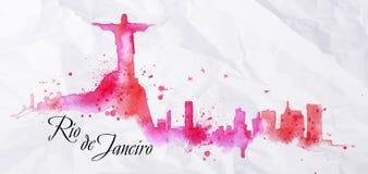 Sylwetki akwarela Rio De Janeiro ilustracji