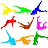 Sylwetki breakdancer na białym tle również zwrócić corel ilustracji wektora Fotografia Stock