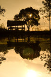 Sylwetki buda w rolnym basenie Fotografia Royalty Free