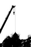 Sylwetki budowa z żurawiem Fotografia Stock